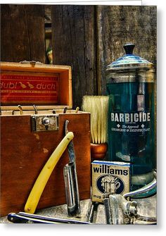 Barber - Vintage Barber Tools Greeting Card by Paul Ward