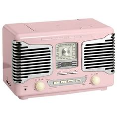 Vintage Radio Pink — bei heine.de (€149) ❤ liked on Polyvore featuring fillers, music, backgrounds, pink and decor