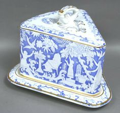 19th C. English Transfer Covered Cheese Dish... Very Pretty! Never seen this pattern before.