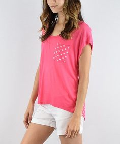 Another great find on #zulily! Pink Polka Dot Patch Pocket Tee #zulilyfinds