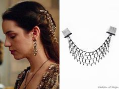 """In the episode 3x03 (""""Extreme Measures"""") Queen Mary wears this Millianna Jewelry Ingrid Hairpiece ($210).Worn with Victoria & Yo earrings, Gillian Steinhardt labyrinth and signet rings."""