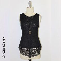 SALE Linda Black Crochet Lace Peplum Top High-Low by CestCaNY