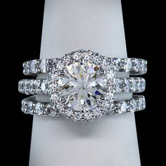 2.76 carat halo diamonds ring 3 row engagement ring white gold 14K solid gold. $5,399.00 USD.