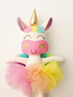 Items similar to Unicorn doll - fabric doll - baby gift - rainbow unicorn - girls room decor - girls toy - rainbow baby - rainbow doll - unicorn - plush on EtsyUnicorn teddy makeTips And Techniques For fabric dolls Felt Crafts, Diy And Crafts, Crafts For Kids, Unicorn Birthday, Unicorn Party, Cadeau Surprise, Craft Projects, Sewing Projects, Unicorn Crafts