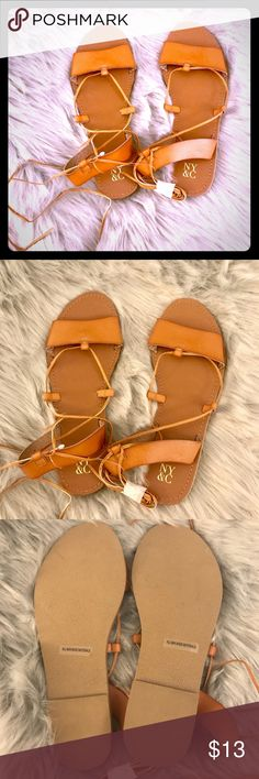 NY&C tie sandals Brown leather sandals, new w/o tags, but has some original wrapping. Size 10. NY&C Shoes Sandals