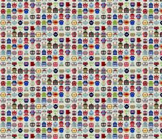 """""""Lotsa Bots"""" fabric by Diana Rich on Spoonflower - Custom fabric uses a repeating pattern of whimsical and colorful robot heads inspired by retro tin toy robots from the 50s."""