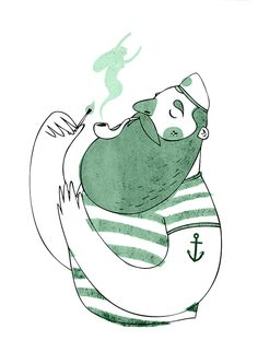 The sailor & the mermaid Character Design, Drawing, Illustration