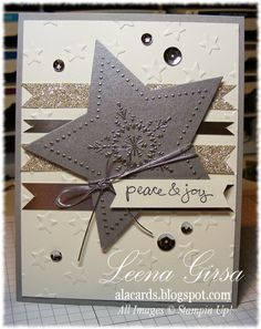 Stampin' Up! ... handmade Christmas card from A La Cards: Peace & Joy ... luv the silver embossing on mat silver cardstock ... gorgeous focal point star ...