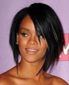 Riri's asymmetrical bob and side bangs I love Rihanna's hair she is like the best