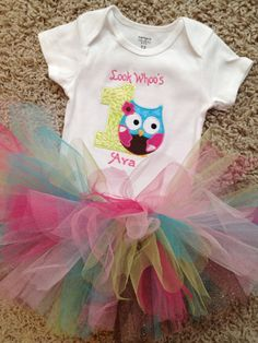 1st birthday owl onesie with name and matching colorful tutu on Etsy, $33.00