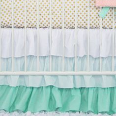 Mint and Coral Chevron Bumperless Crib Bedding