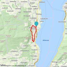 Ausgangspunkt ist das Ortszentrum von Nußdorf am Attersee Map, Tours, Horseback Riding, Hiking, Road Trip Destinations, Destinations, Location Map, Maps