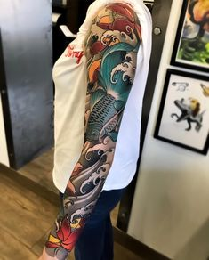 Japanese tattoo sleeve by max_titanic swipe to the side to see all 5 photos! Japanese Tattoo Words, Small Japanese Tattoo, Japanese Hand Tattoos, Tattoo Japanese Style, Traditional Japanese Tattoos, Japanese Tattoo Designs, Japanese Flower Tattoo, Neo Traditional, Irezumi Tattoos