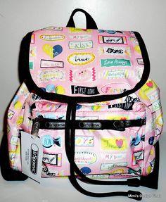 LESPORTSAC SMALL EDIE Backpack **NEW**  Bag Purse Sweet Talk Pink Print 9808 NWT #Lesportsac #Backpack