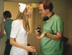 Quentin Tarantino and Daryl Hannah on the set of Kill Bill (2003)