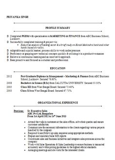 awesome one page resume sample for freshers career pinterest