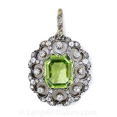 Antique Peridot and Diamond Necklace Pendant - 90-1-3993 - Lang Antiques