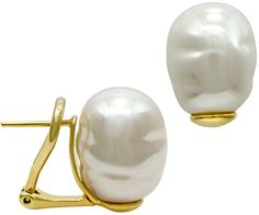 Majorica 18k Gold over Sterling Silver Earrings, Organic Man-Made Baroque Pearl - $100.00