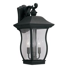 """Chelsea 9"""" Wall Lantern in Black with Clear"""