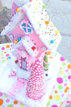 Kawaii Sweets Pastel Pink Christmas House by kittywooddesigns, $95.00
