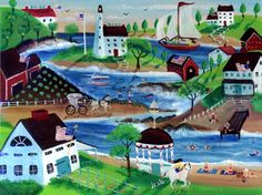Oceanside Summertime Americana Village Folk Art Painting