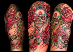 Trent Edwards - skull and roses half sleevePlacement: ArmComments: This custom sugar skull tattoo half sleeve started out as one tattoo and grew from there. This was done on a local artist.