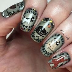 Cute cat & dog stamped nail art by @vics_nails using stamping plate MoYou-London - Enchanted 14