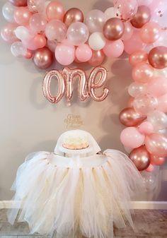 1st Birthday Girl Decorations, First Birthday Balloons, 1st Birthday Party For Girls, Gold Birthday Party, Baby Girl First Birthday, Birthday Tutu, Princess Birthday, Birthday Ideas, Happy 1st Birthdays