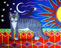 Cat Crow Sun Moon and Stars Whimsical Art Magnet by starlustudio2, $3.00