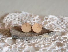 Natural ear studs natural wood jewelry beech wood by MyPieceOfWood