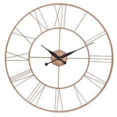 Featuring a traditional circular shape, this large wall clock features striking Roman numerals with elegant black hands and a copper skeleton finish. Wall Clock Copper, Clock Wall, Black And Copper Kitchen, Bedroom Clocks, Bedroom Decor, Wall Decor, Bedroom Inspo, Bedroom Inspiration, Kitchen Inspiration