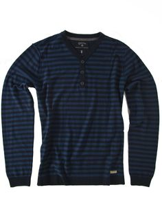 Flying A: Striped Henley Sweater in Blue and Black by Converse Black Canvas
