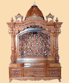 Wooden temple altar mandir hindu god statue indian temple - Wall mounted wooden temple design for home ...