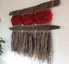 Can use organic material Weaving Wall Hanging, Weaving Art, Tapestry Weaving, Loom Weaving, Hanging Wall Art, Hand Weaving, Rustic Mixed Media Art, Peg Loom, Creative Textiles