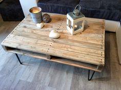 Table basse en bois de palettes, peuplier massif, pieds en épingles RIPATON…