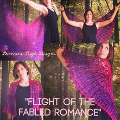 Crochet shawl pattern, 'Flight Of The Fabled Romance' now available in my ravelry store! Spread your wings and set yourself free, with this beautiful and uniquely-shaped shawl. http://www.ravelry.com/patterns/library/flight-of-the-fabled-romance