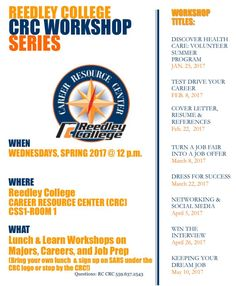 Don't miss this wonderful series of upcoming workshops at Reedley College!   #Reedley #Workshops