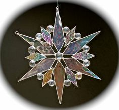stained glass snowflake sun-catcher