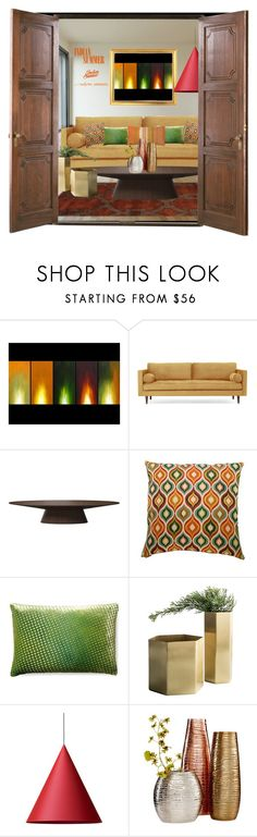 """Tastemasters-Indian Summer"" by emcf3548 ❤ liked on Polyvore featuring interior, interiors, interior design, home, home decor, interior decorating, Joybird, Modloft, Pillow Perfect and Kevin O'Brien"