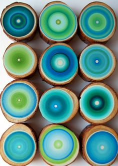 Reserved nkw Joanne Tree Rings Set of 12 Amazing Colors Abstract Paintings on Wood Customize your set See Close Ups Shades Of Turquoise, Shades Of Blue, Wood Circles, My Favorite Color, Painting On Wood, Diy Art, Wood Art, Color Inspiration, Mandala