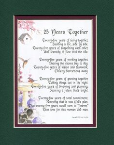 AmazonSmile: A Gift For A 25th Wedding Anniversary, #117, Touching 8x10 Poem, Double-matted in Dark Green Over Burgundy and Enhanced with Watercolor Graphics.: Home Decor Gift Packages: Posters & Prints
