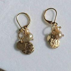Handmade-One of a Kind - Genuine Pearl-Leverback Earrings-Women-Gift-Gold tone-Minimalist-Gold-Dainty-Affordable Jewelry-Gift under 25 by JensJemsWV on Etsy