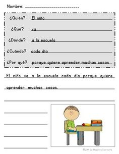 Spanish Question Word Sentence Writing Blank Templates: Students use the question words to write detailed sentences. Perfect for guided writing! $