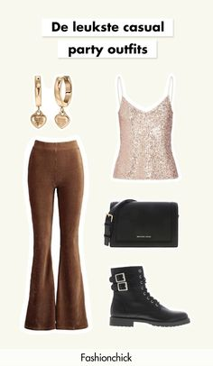 Lookbook | Party | Feest | Items | Outfit | Casual | Glitter | Top | Biker | Boots | Laarzen | Schoudertas | Oorbellen | '80 | Flared | Broek | Inspiration | More on Fashionchick Glitter Top, Biker Boots, Casual Party, Party Looks, Casual Outfits, Jumpsuit, Inspiration, Tops, Style