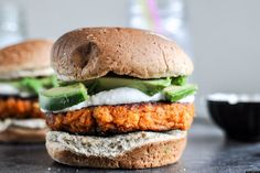 Smoky sweet potato burgers with roasted garlic cream, great for something different and with a cup of Russian Caravan!