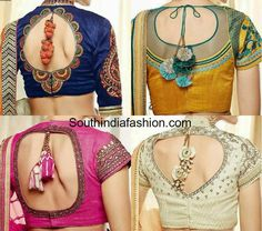 Stylish and trendy latest saree blouse designs. Related PostsTrendy Bridal Half Sarees by Yaksi BoutiqueTrendy Collar Neck Designer BlouseGold High Neck Embroidered BlouseStylish High Collar Neck BlouseHigh Neck Sequins Blouse Blouse Back Neck Designs, Sari Blouse Designs, Saree Blouse Patterns, Blouse Styles, Latest Saree Blouse, Latest Sarees, Choli Designs, Sari Bluse, Indie Mode