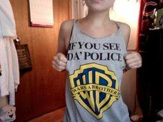 warn a brother if you see da police vest grey t shirt grey t-shirt grey tank top tank top funny warner brother