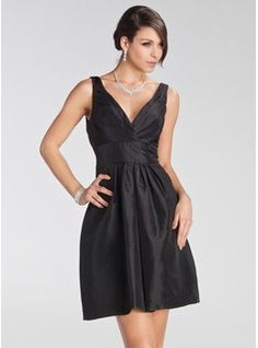 Empire V-neck Short/Mini Taffeta Bridesmaid Dress With Ruffle (007005231)