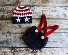 Red, White, and Blue Hat, Diaper Cover and Suspenders, Fourth of July Hat, Baby Hat, Newborn Hat, Crochet Hat