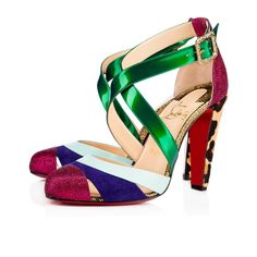 Christian Louboutin Estradouche Glitter /nappa Shiny 100 Multicolor Pony Finish Calfskin - Women Shoes - Christian Loubo In Version Multi Chanel Resort, Christian Louboutin Outlet, Red Louboutin, Colorful Shoes, Ankle Straps, Slip On Sneakers, Summer Shoes, Strap Sandals, Heeled Mules